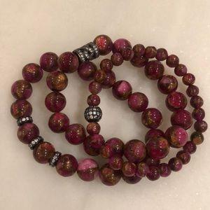 Stunning set of 3 Ellie Madison beaded bracelets